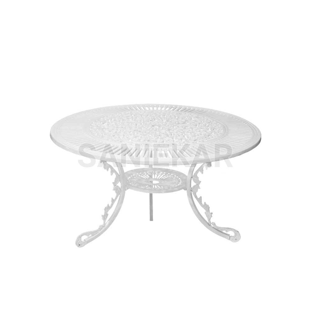 میز آلومینیومی جهت مبلمان باغی و مبلمان فضای باز صنیع کار - مدل دایره قطر 110 سانت