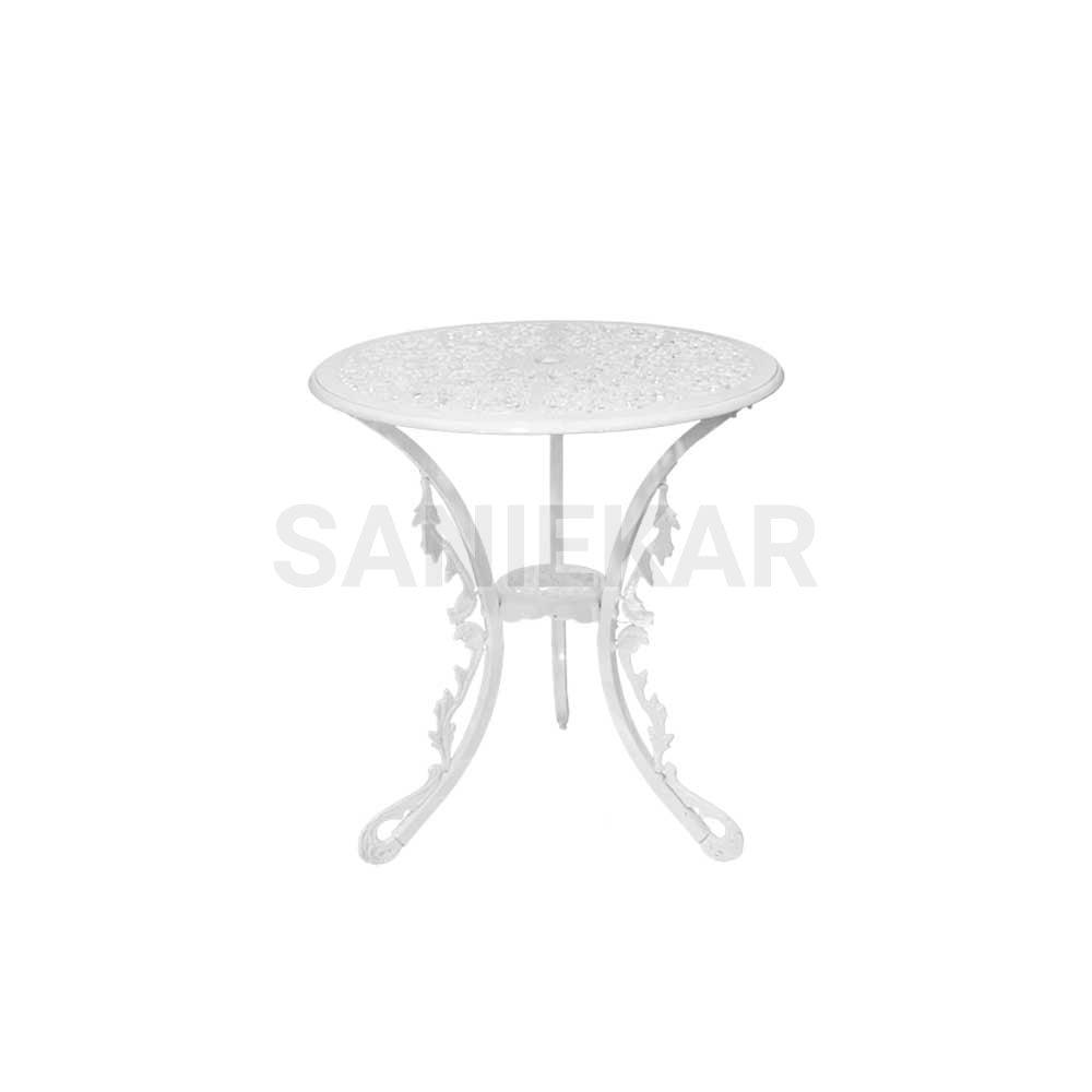 میز آلومینیومی جهت مبلمان باغی و مبلمان فضای باز صنیع کار - مدل دایره قطر 65 سانت