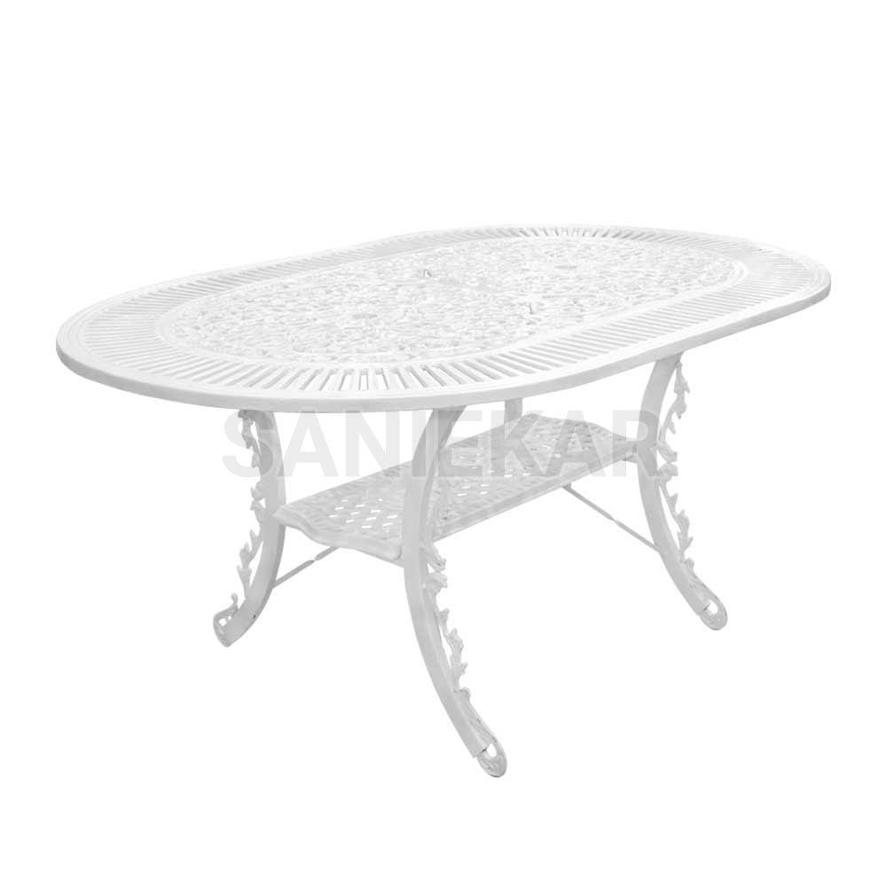 میز آلومینیومی جهت مبلمان باغی و مبلمان فضای باز صنیع کار - مدل بیضی