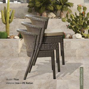 صندلی حصیری رستوران و باغی و ویلایی و فضای باز - مدل تایتان