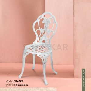 صندلی رستورانی آلومینیومی طرح انگور سفید مبلمان باغی