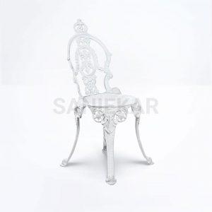 صندلی رستورانی آلومینیومی طرح گیسویی سفید مبلمان باغی
