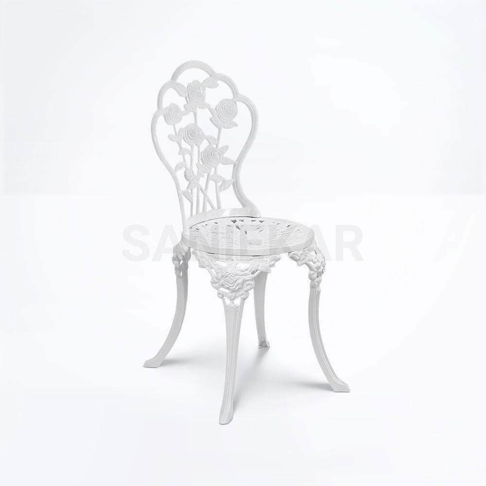 صندلی رستورانی آلومینیومی طرح گل سفید