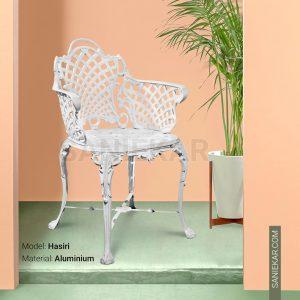 صندلی رستورانی آلومینیومی طرح حصیری سفید مبلمان باغی