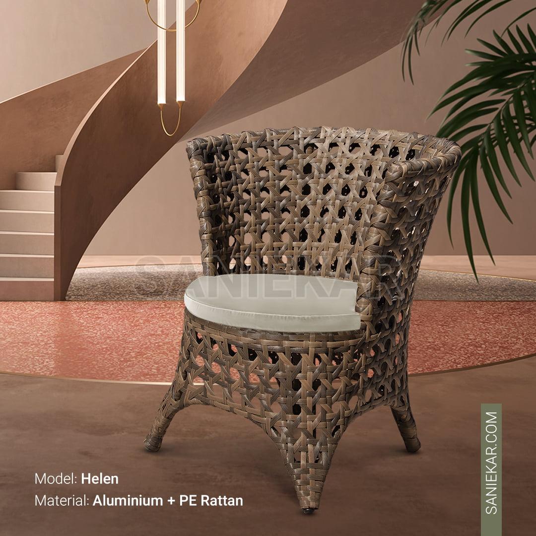 صندلی حصیری صنیع کار - صندلی رستوران - مبلمان باغی - مبلمان ویلایی - مبلمان فضای باز - مدل هلن
