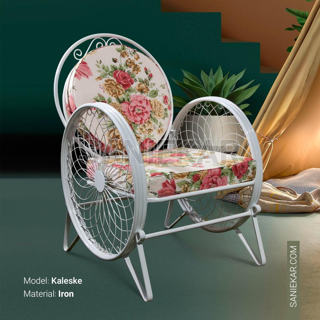 مبلمان باغی و مبلمان ویلایی صنیع کار - صندلی فضای باز مدل کالسکه فرفورژه