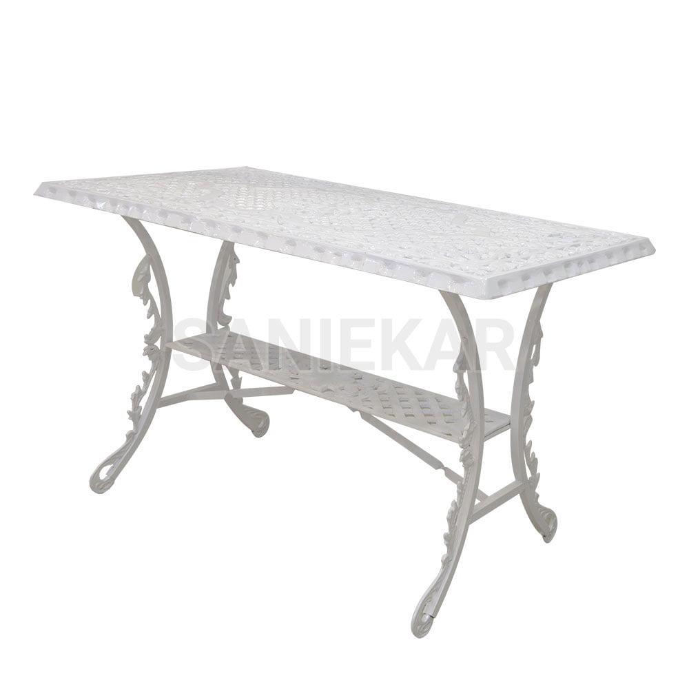 میز آلومینیومی جهت مبلمان باغی و مبلمان فضای باز صنیع کار - مدل مستطیل