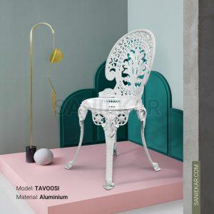 صندلی رستورانی آلومینیومی طرح طاووسی سفید مبلمان باغی